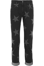Star-print low-rise straight-leg jeans