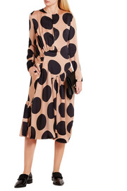 Polka-dot silk midi dress