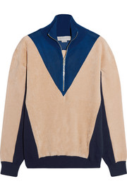 Color-block fleece, jersey and mesh sweater