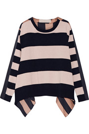 Striped cashmere and wool-blend and silk-satin top