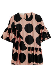 Ruched polka-dot silk top