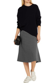Flared stretch-wool midi skirt