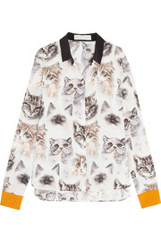 Printed silk crepe de chine shirt