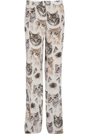 Printed silk crepe de chine wide-leg pants