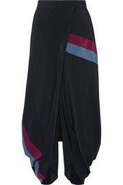 Stella McCartney Wrap-effect silk crepe de chine tapered pants