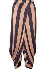 Stella McCartney Wrap-effect striped satin tapered pants