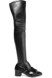 Knotted stretch-leather over-the-knee boots