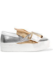 Knotted metallic leather slip-on sneakers
