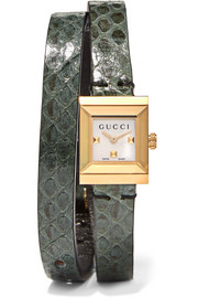 Gucci Elaphe and gold-tone watch