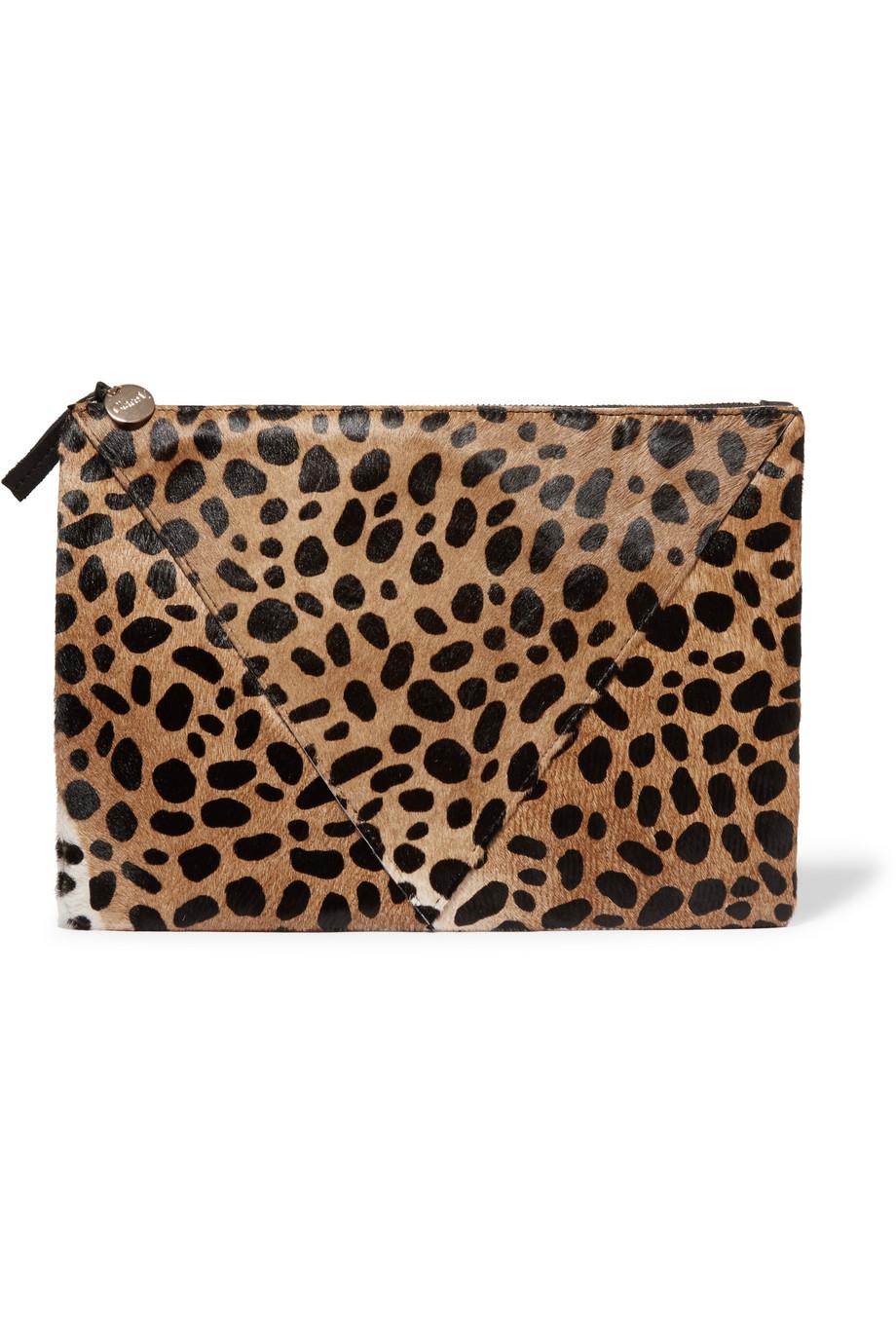 Clare V Patchwork Leopard-Print Calf Hair Clutch, Leopard Print, Women's