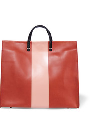 Simple striped leather tote