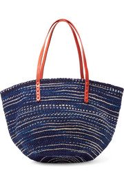 Clare V Kenya woven sisal fiber and leather tote