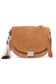 Tasseled suede shoulder bag