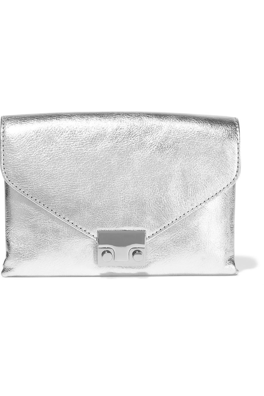 Metallic Textured-Leather Clutch, Silver, Women's