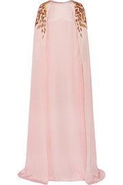 Cape-effect embellished silk-crepe gown