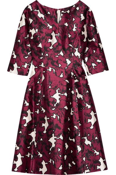 oscar de la renta floral print duchesse silk satin dress. Black Bedroom Furniture Sets. Home Design Ideas