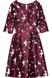 Floral-print duchesse silk-satin dress