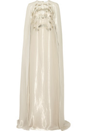 Cape-back embellished organza gown