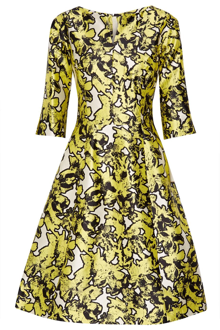 Oscar De La Renta Silk-Jacquard Dress, Bright Yellow, Women's - Jacquard, Size: 6