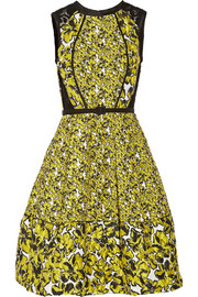 Oscar de la Renta Corded lace-paneled brocade dress