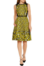 Corded lace-paneled brocade dress