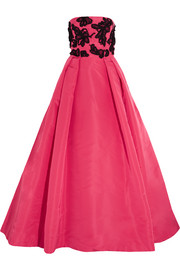 Embellished silk-taffeta gown