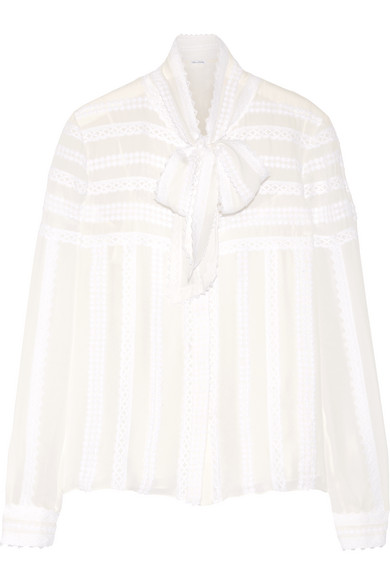 Oscar de la Renta - Pussy-bow Lace-appliquéd Silk-chiffon Blouse - Ivory