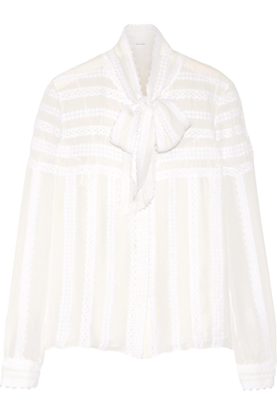 Oscar De La Renta Pussy-Bow Lace-Appliquéd Silk-Chiffon Blouse, Ivory/White, Women's, Size: 10