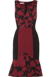 Oscar de la Renta Printed stretch wool-blend dress