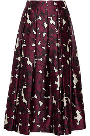Floral-print pleated silk-satin skirt