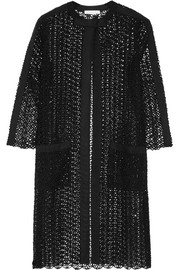 Oscar de la Renta Grosgrain-trimmed embellished open-knit silk-blend jacket