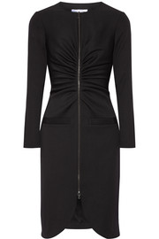 Oscar de la Renta Gathered stretch-wool crepe dress