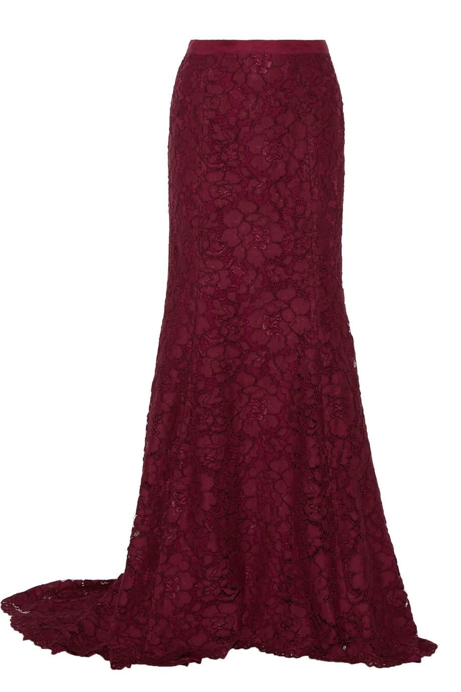 Oscar De La Renta Cotton-Blend Lace Maxi Skirt, Burgundy, Women's, Size: 6