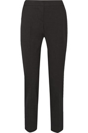 Silk satin-trimmed stretch-wool tapered pants