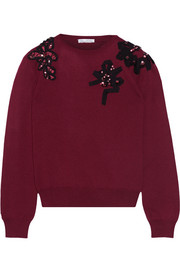 Oscar de la Renta Appliquéd wool sweater