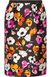 Floral-print silk and cotton-blend gazar skirt