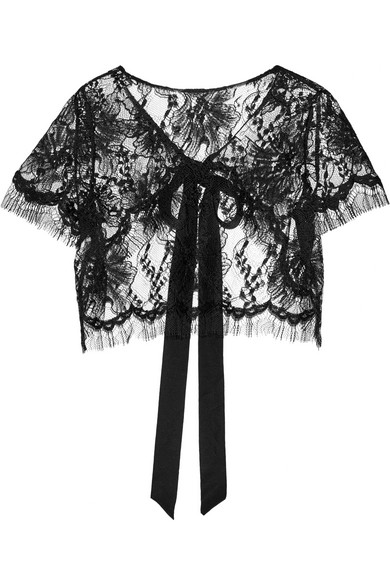 Oscar de la Renta - Cropped Lace Jacket - Black