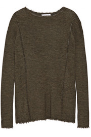Helmut Lang Frayed pointelle-trimmed wool sweater