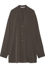 Split-back stretch-silk crepe de chine shirt