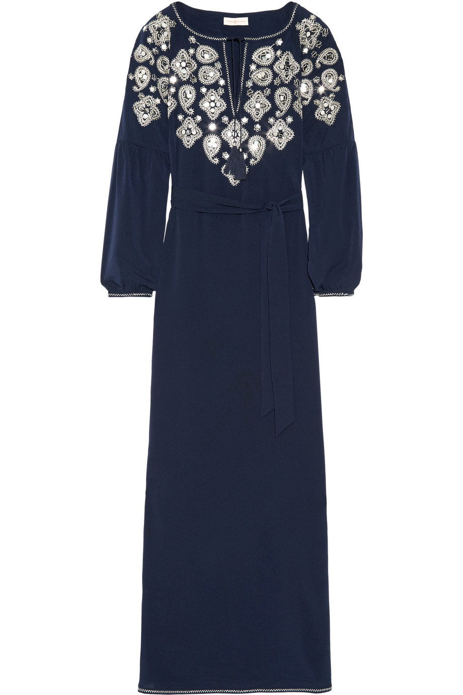 Tory Burch Lisette Embellished Voile Kaftan, Midnight Blue, Women's - Embroidery, Size: 2