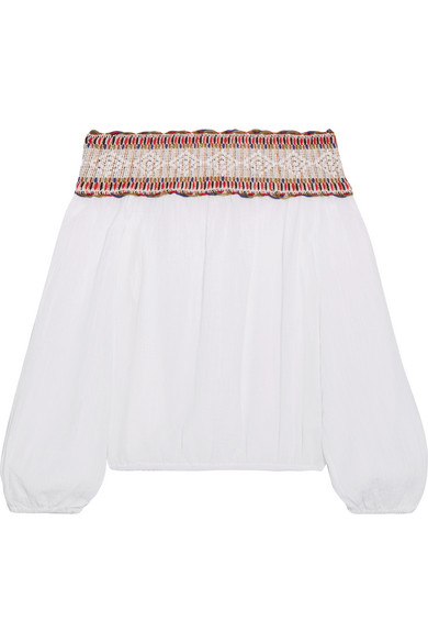 Tory Burch - Sylvia Off-the-shoulder Embroidered Cotton-muslin Top - White