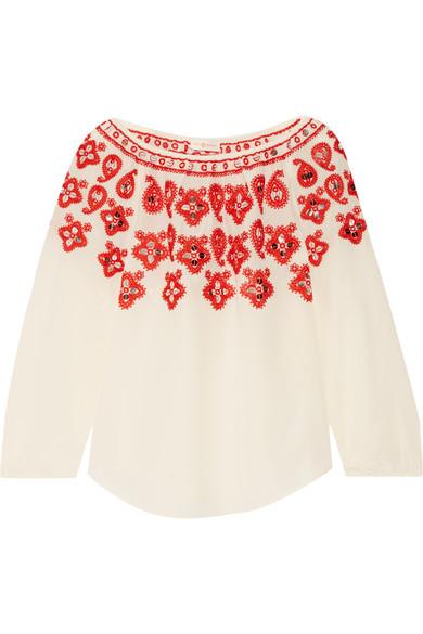 Tory Burch - Leyla Sequin-embellished Embroidered Silk Top - Ecru