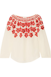 Tory Burch Leyla sequin-embellished embroidered silk top