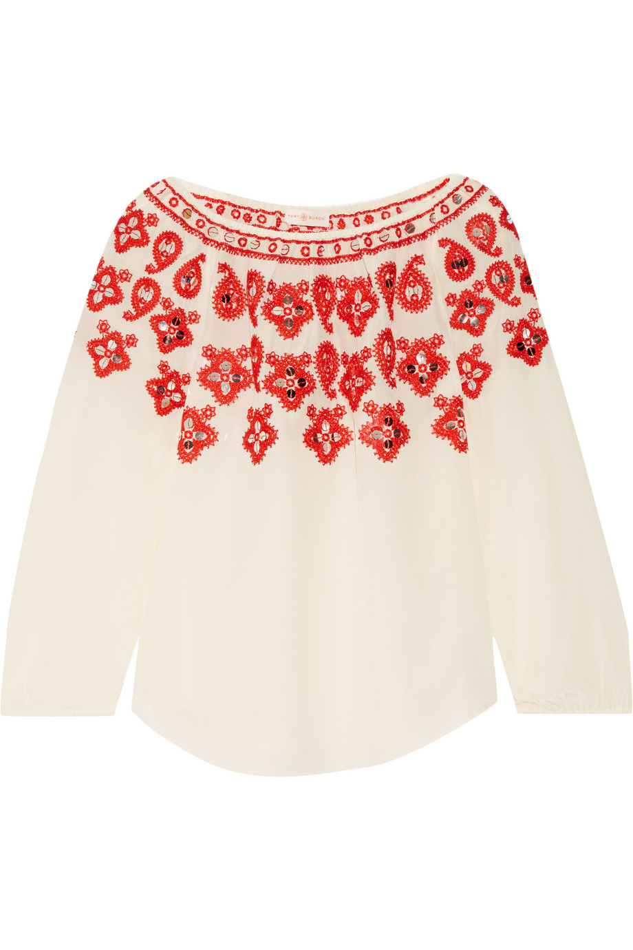 Tory Burch Leyla Sequin-Embellished Embroidered Silk Top, Ecru/Red, Women's, Size: 10