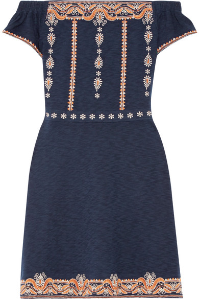 Tory Burch - Nell Off-the-shoulder Embroidered Cotton Mini Dress - Navy