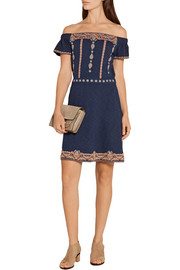 Tory Burch Nell off-the-shoulder embroidered cotton mini dress
