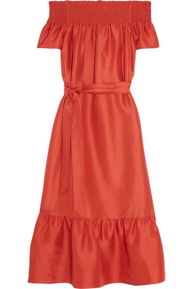 Tory Burch - Ramona Off-the-shoulder Slub Silk Midi Dress - Tomato red