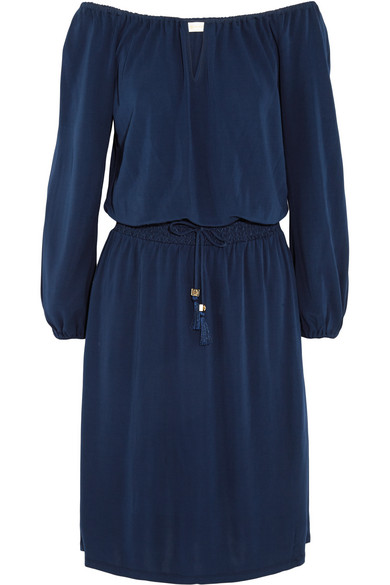Tory Burch - Kara Off-the-shoulder Stretch-jersey Dress - Navy