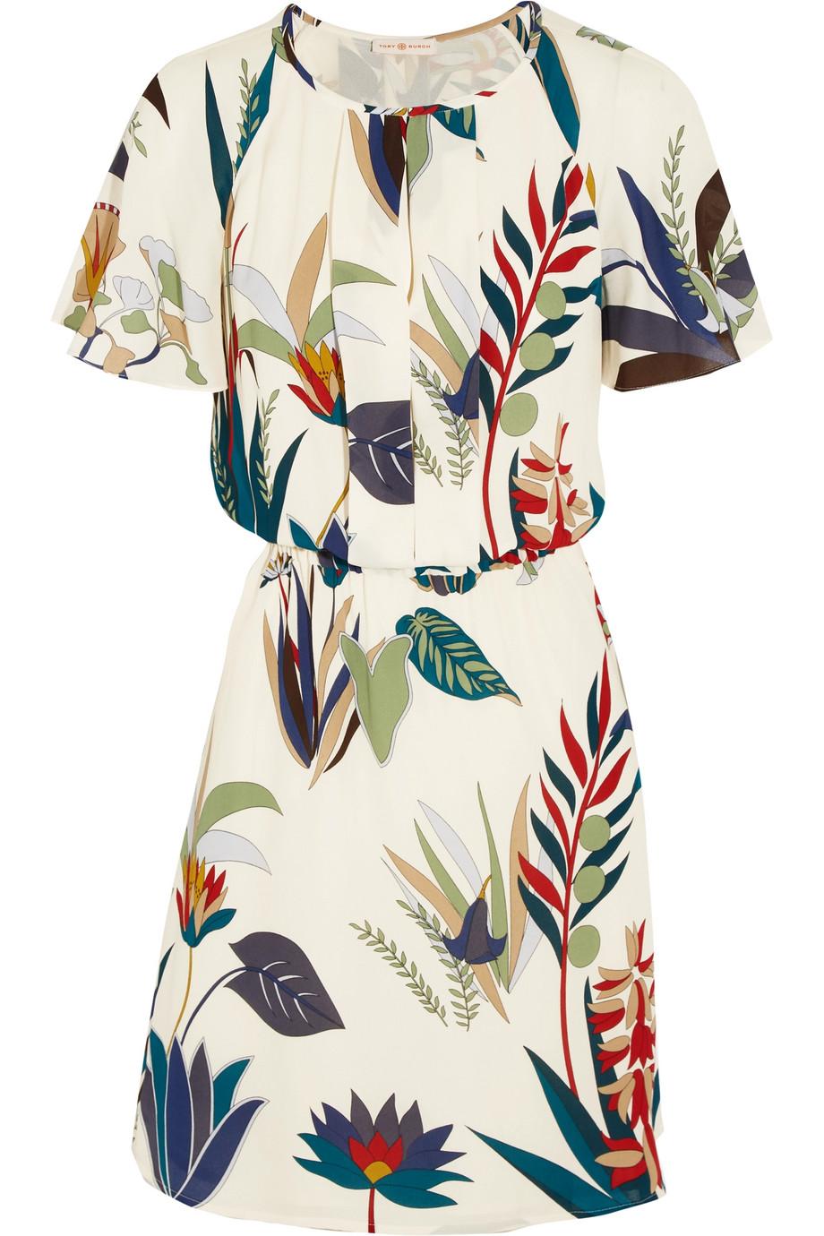 Tory Burch Anatolia Printed Silk-Georgette Dress, White, Women's - Printed, Size: 10