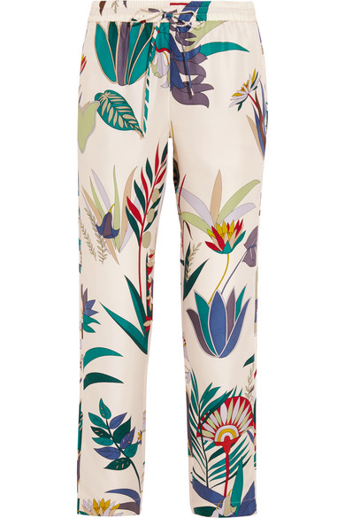 Tory Burch - Adele Printed Silk-twill Tapered Pants - White